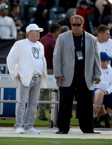 Oakland Raiders vs Detroit Lions Mark Davis talks with Reggie McKenzie Photos by Gerome Wright ( Martinez News-Gazette )