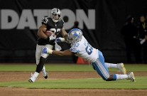 Oakland Raiders vs Detroit Lions #33 RB Deandre Washington Photos by Gerome Wright ( Martinez News-Gazette )