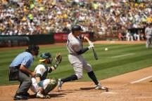 Oakland A's vs New York Yankees #27 DH Giancarlo Stanton Photos by Tod Fierner ( Martinez News-Gazette )