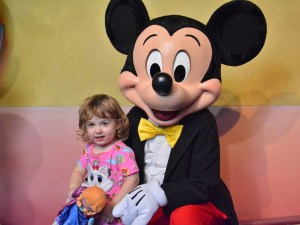Vivian's granddaughter with Mickey Mouse in 2018