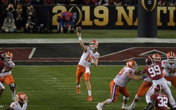 2019 NCAA National Championship Game Clemson Tigers vs Alabama Crimson Tide #16 Fr QB Trevor Lawrence Photos by Gerome Wright