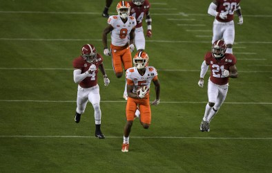 2019 NCAA National Championship Game Clemson Tigers vs Alabama Crimson Tide #5 So.WR Tee Higgins Photos by Gerome Wright