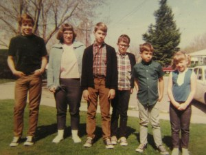 Geeky me pictured with my cool Ward cousins. Steve, me, Johnny, Brion, Danny, and my sister Johnette