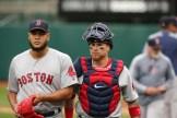 Oakland A's vs Boston Red Sox #57 P Eduardo Rodriguez & #7 C Christian Vazquez