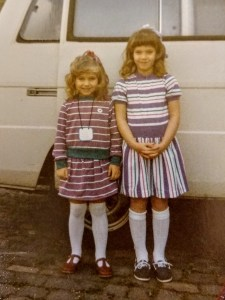 Vivian's daughters on the first day of school in 1985.