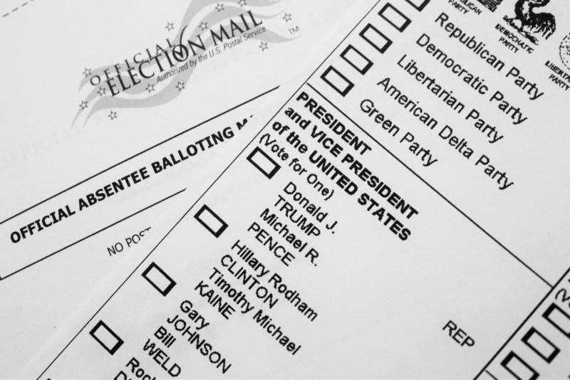 Papeleta electoral presidenciales 2016 EEUU