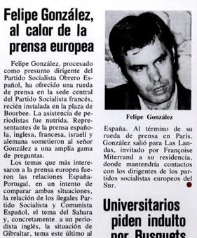 Primera foto de Felipe Gonzalez publicada en España (31 Mayo 1975) en vida de Franco.