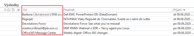 """By default, Outlook only displays the """"name"""" of the sender."""