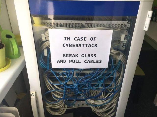 Cyberattack - brack glass