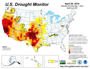 USA har torka i väster och skyfall i öster