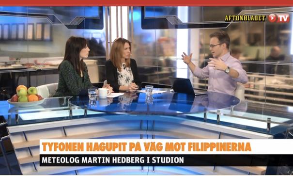 Martin Hedberg i Aftonbladets TV-studio om tyfonen Hagupit
