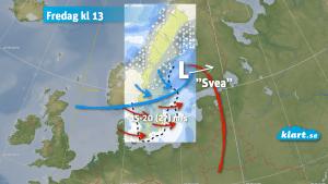 Stormen Svea under fredagen