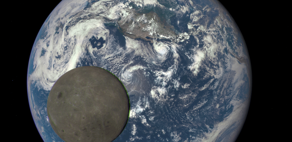 NASA epic picture of the moon and the earth