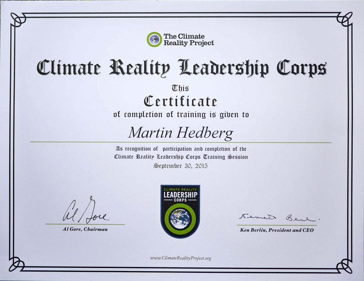 Certifierad Climate Reality Leadership Corps