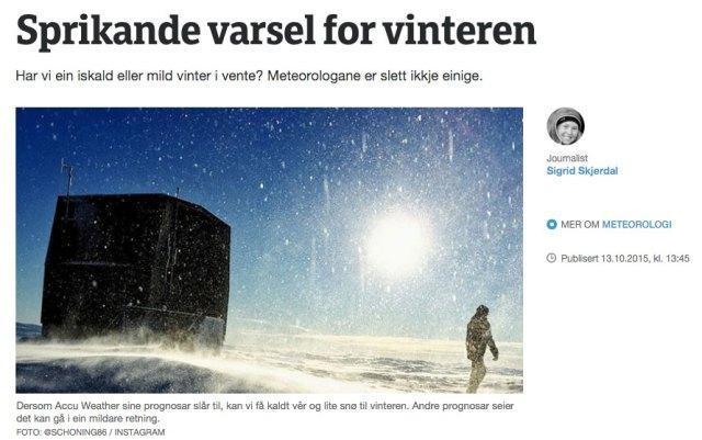 Kommentar från Yr.no om Accuweathers säsongsprognos för vintern 2015/16.