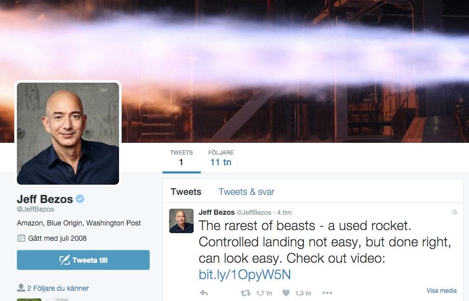 Jeff Bezos enda tweet. Och 11.000 följare efter fyra timmar.