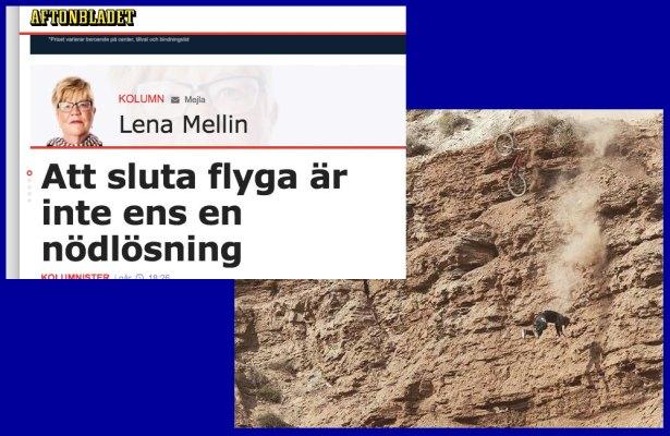 Lena Mellin vill flyga, men är ute och cyklar
