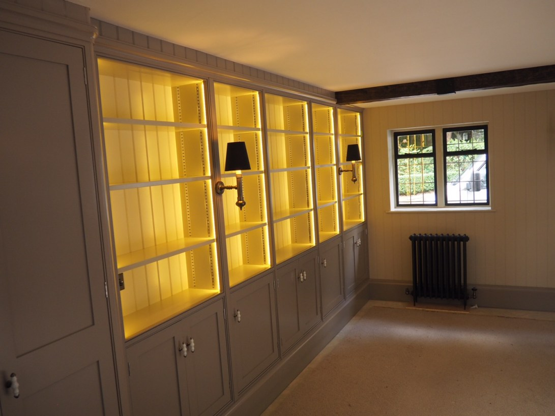 Library shelves in a snug
