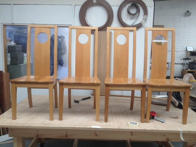 Finished chairs once the alterations had been done. all ready for customer to collect.