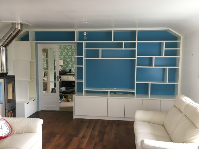 Living room shelving on back wall of house