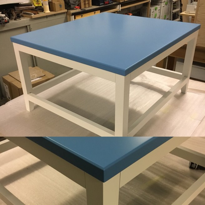Free standing Occasional table with Blu work surface