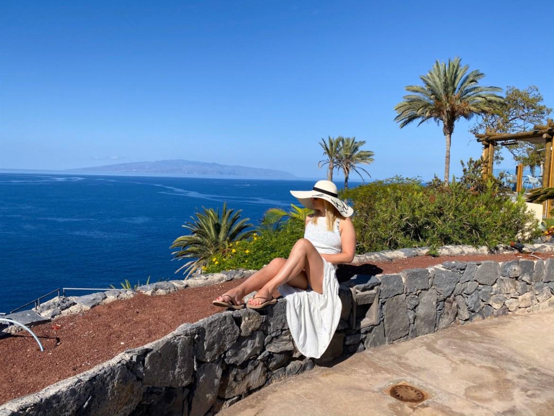 Me in a dress on the Cliffs of El Mirador