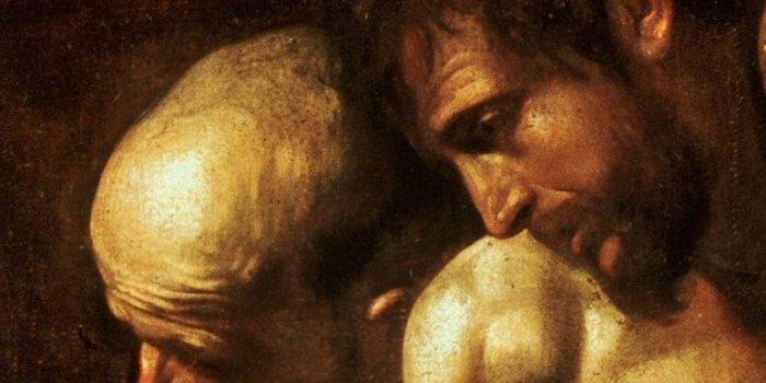 Adorazione dei pastori di Caravaggio, particolare dei pastori