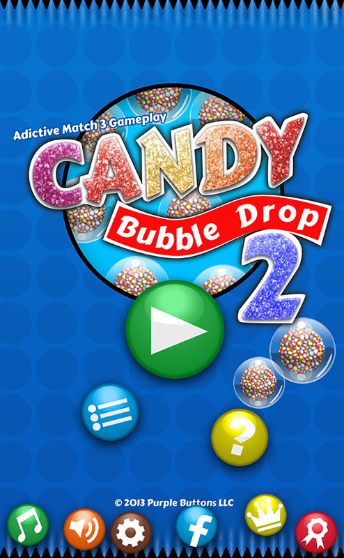 Front screen and menu for Candy Bubbles.