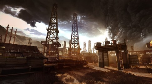 The 7 go to the Caspian oil fields. This is an in-game shot of the final level.