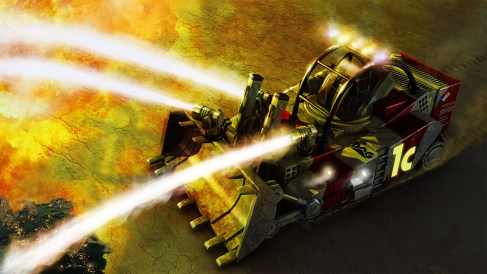 A bulldozer based fire fighting vehicle concept.
