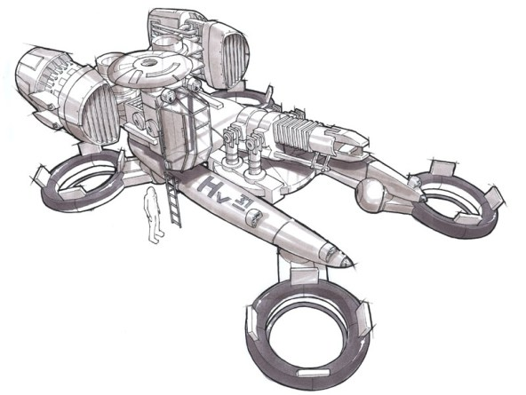 A concept for an Anti-Gravity Tractor to be used in a renewal of the classic Atari game Battlezone.