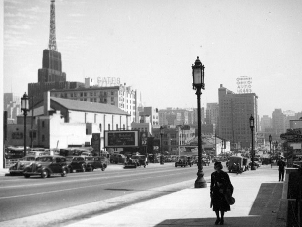 Looking east on Wilshire Boulevard at Francisco Street, 1937