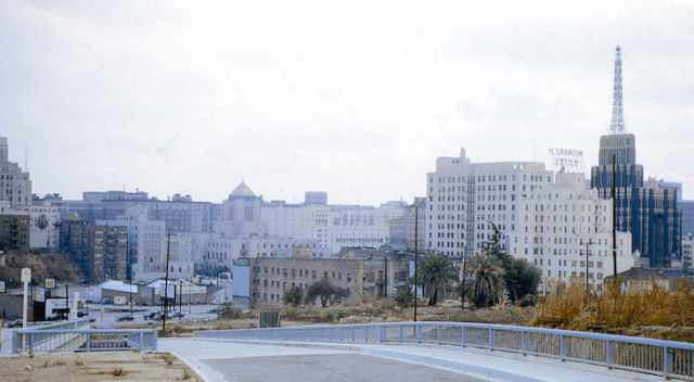 Looking eastbound on new 4th Street toward Figueroa, ca.1960