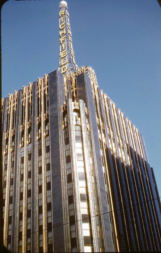 Richfield Oil building with its black & gold terracotta facade, Los Angeles