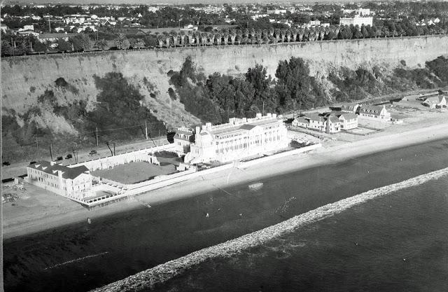 Aerial shot of the Marion Davies Beach House, Santa Monica Beach, California