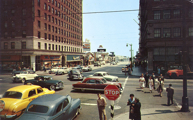 Looking south of Hollywood and Vine, circa mid 1950s