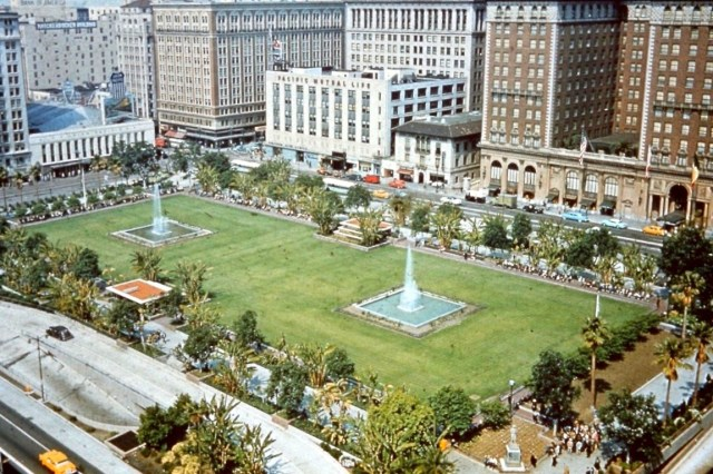Pershing Square with lawn and fountains, circa mid to late 1950s