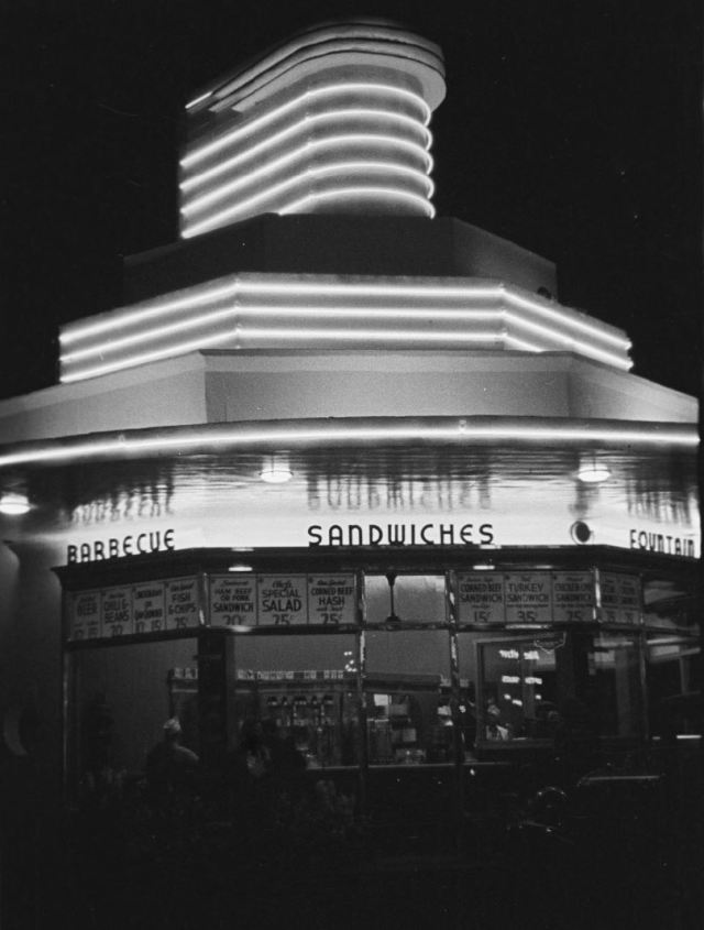 Carpenter's drive-in restaurant, 667 S Western Ave at Wilshire, Los Angeles, 1937