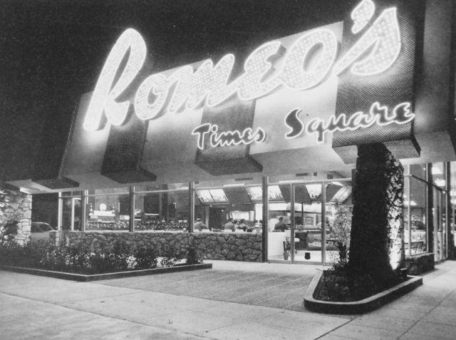 Romeo's Time Square, Wilshire Blvd, Los Angeles, circa late 1950s