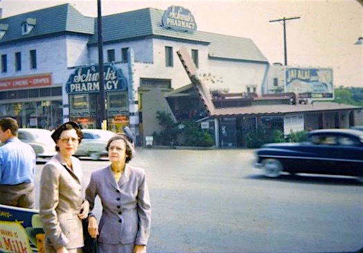 Snapshot of Schwab's Pharmacy and Googies Coffee Shop, Sunset Blvd, circa 1950s