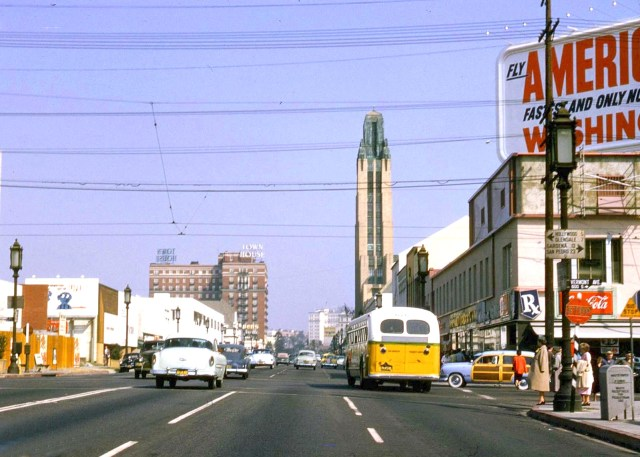 Wilshire Blvd, Los Angeles, with the Town House Hotel and Bullocks Wilshire tower, 1954
