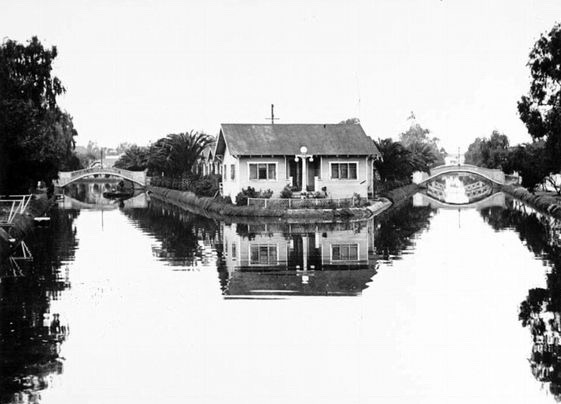 House sitting between two canals, Venice, California, circa early 1900s