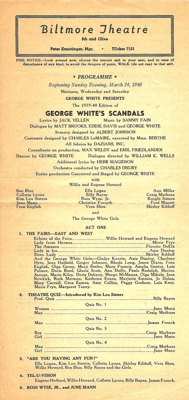 Program of the George White's Scandals, Los Angeles, 1940