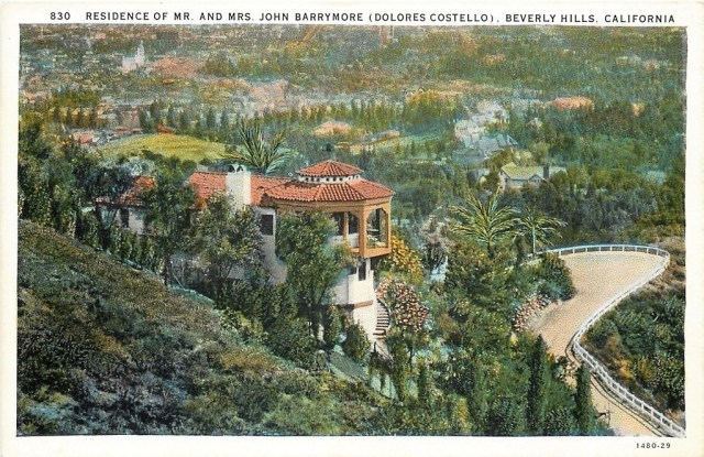 John Barrymore and Dolores Costello residence overlooking Beverly Hills