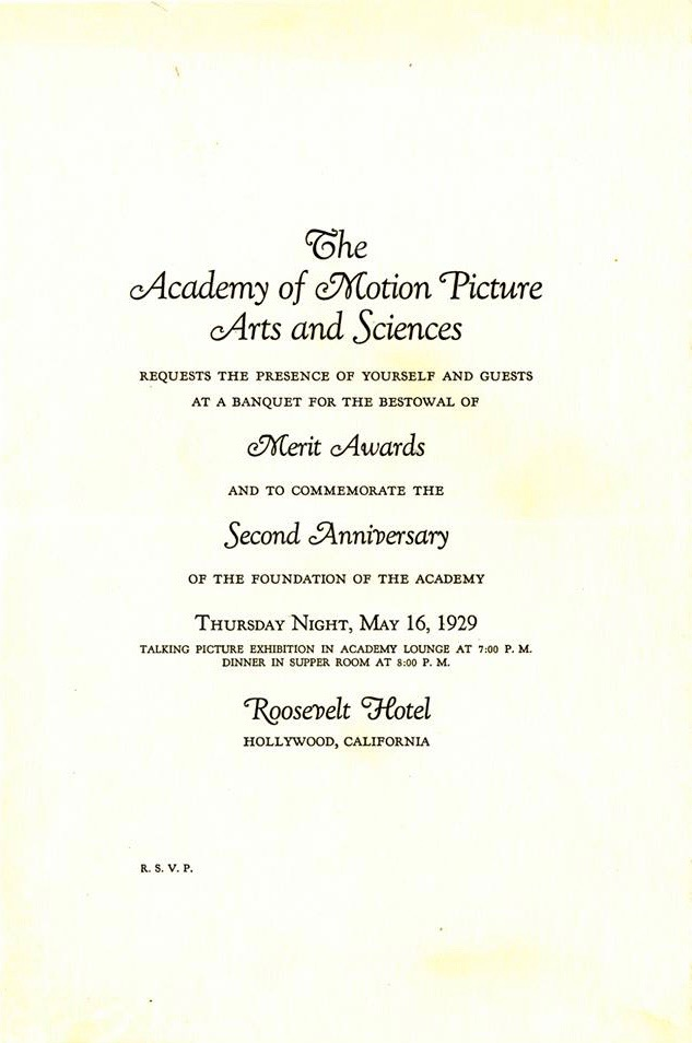 Program for the first Academy Awards held at the Roosevelt Hotel on Hollywood Blvd, May 16th , 1929