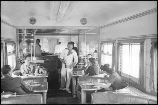 Interior of Southern Pacific Daylight train, between Los Angeles and San Francisco, circa 1939