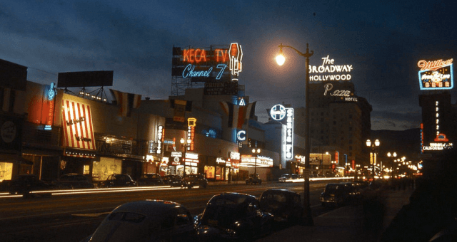 Looking north on Vine Street from NBC Radio City, Sunset Boulevard, Hollywood, circa 1948
