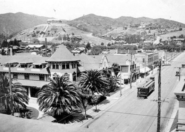 Looking northwest across Hollywood Boulevard and Highland Avenue, circa 1915