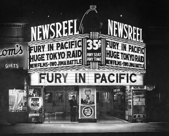 "The Newsreel Theater, 744 S. Broadway, downtown Los Angeles showing ""Fury In The Pacific"" circa 1945"