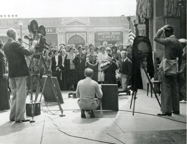 Jean Harlow at her 2nd forecourt ceremony outside Grauman's Chinese Theatre, Hollywood, September 29, 1933